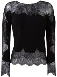 Ermanno Scervino Lace Insert Knitted Top Black