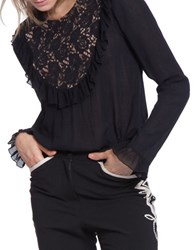 Plenty By Tracy Reese Frilled Panel Long Sleeve Top Black