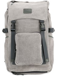 Makavelic Push Buckle Fastened Backpack Calf Suede Grey