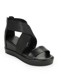 French Connection Pelle Stretch Leather Platform Wedge Sandals Black