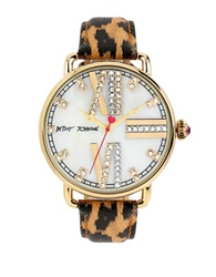 Betsey Johnson Ladies Goldtone And Glitz Watch With Leopard Print Strap