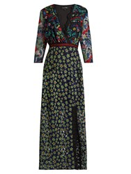 Saloni Jennifer Floral Embroidered Tulle Dress Navy Multi