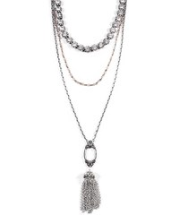 Lulu Frost Lillet Long Layered Tassel Necklace Silver