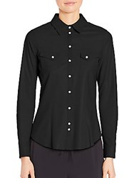 Eleventy Leather Snap Front Shirt Black