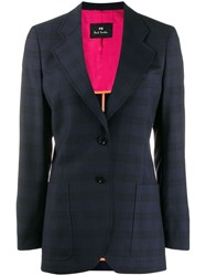 Paul Smith Ps Checked Wool Blazer Blue