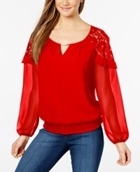 Thalia Sodi Lace Inset Keyhole Top Created For Macy's High Voltage