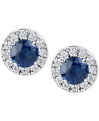 Macy's Sapphire 1 1 5 Ct. T.W. And Diamond 1 3 Ct. T.W. Halo Stud Earrings In 14K White Gold Blue