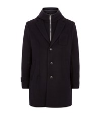Emporio Armani Hooded Insert Wool Coat Navy