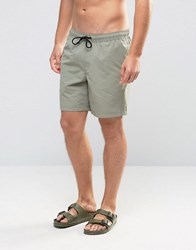 Asos Swim Shorts In Washed Green Mid Length Green