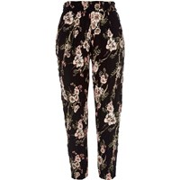 River Island Black Floral Print Loose Fit Trousers