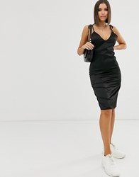 Na Kd Tied Straps Satin Slip Dress In Black