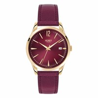 Henry London Ladies 39Mm Holborn Leather Watch Gold Red