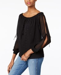 Guess Toya Off The Shoulder Peasant Top Jet Black