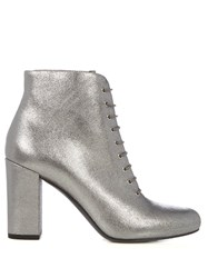 Saint Laurent Lace Up Leather Ankle Boots Silver