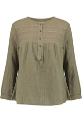 Current Elliott The Retreat Smocked Cotton Gauze Top Army Green