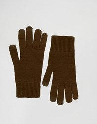Asos Touchscreen Gloves In Khaki Khaki Green