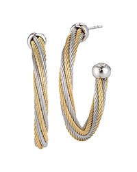 Alor Two Tone Cable Hoop Earrings Gray Gold