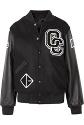 Opening Ceremony Appliqued Wool Blend Twill And Textured Leather Bomber Jacket Black