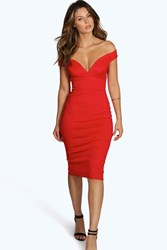 Boohoo Nisha Sweetheart Off The Shoulder Dress Red