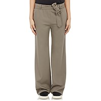 Tomas Maier Women's Gabardine Belted Pants Beige Light Grey Beige Light Grey