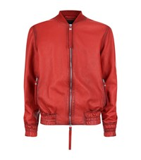 Blood Brother Guard Oil Effect Leather Bomber Jacket Male Red