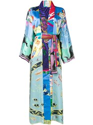 Rianna Nina Printed Long Sleeve Kimono Jacket Women Silk One Size