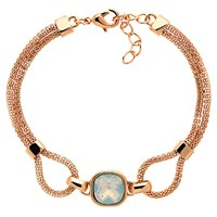 Finesse Double Mesh Glass Crystal Bracelet Rose Gold Opal