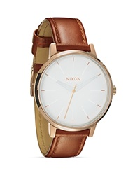 Nixon The Kensington Leather Strap Watch 37Mm Rose Gold White