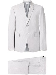 Thom Browne Striped Two Piece Suit Cotton Cupro Grey