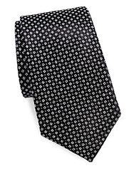 Saks Fifth Avenue Made In Italy Micro Floral Silk Tie Black