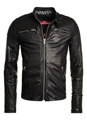 Superdry Real Hero Biker Leather Jacket Jet