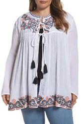 Glamorous Plus Size Women's Embroidered Peasant Top