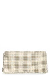 Whiting And Davis Crystal Triangle Clutch Ivory Pearl
