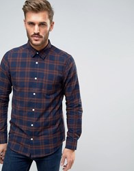 New Look Regular Fit Check Shirt In Navy Navy