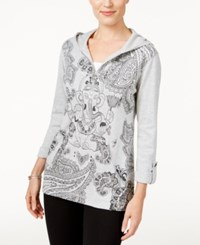 Styleandco. Style Co. Printed Zip Neck Hoodie Only At Macy's Heather Grey