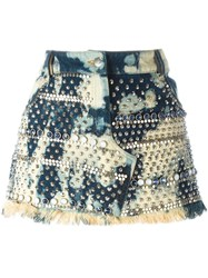 Ashish Embellished Bleach Effect Skirt Blue