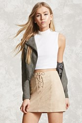 Forever 21 Faux Suede Lace Up Mini Skirt