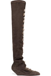 Rick Owens Embellished Suede Over The Knee Boots Dark Gray