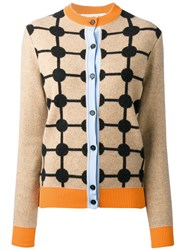 Marni Patterned Cardigan Polyamide Cashmere Virgin Wool Nude Neutrals