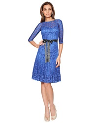 Teri Jon Lace Overlay Illusion Dress Royal Blue