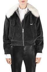 Topshop Unique Women's 'Fenton' Genuine Sheepskin Collar Wool Blend Jacket