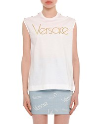 Versace Sleeveless Logo Button Shoulder Cotton Top White