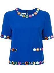 Moschino Embellished Shortsleeved Blouse Blue