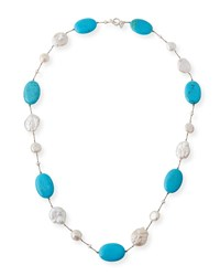 Margo Morrison Turquoise And Baroque Pearl Necklace