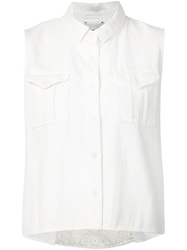 Sea Embroidered Back Sleeveless Shirt White