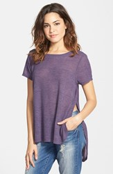 Junior Women's Project Social T Lightweight Crewneck Side Split Tee Heather Eggplant