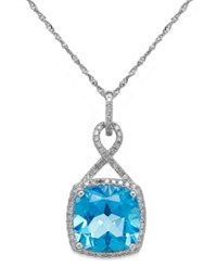 Macy's Blue Topaz 6 Ct. T.W. And Diamond 1 5 Ct. T.W. Pendant Necklace In 14K White Gold