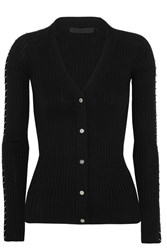 Alexander Wang Embellished Ribbed Cotton Cardigan Black