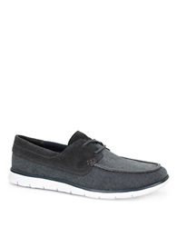 Ugg Catton Canvas And Suede Loafers Blue