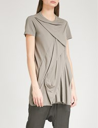 Drkshdw Ruched Asymmetric Cotton T Shirt Dna Dust